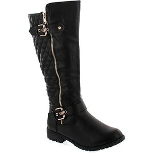 Women's Knee High Quilted Faux Leather Riding Boot